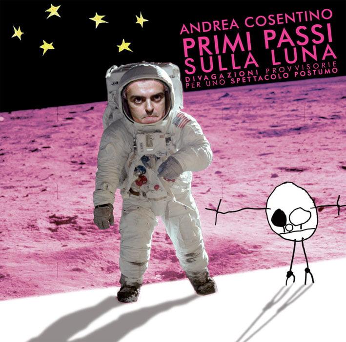 Andrea Cosentino in Primi Passi sulla luna, grafica Edoardo La Rosa